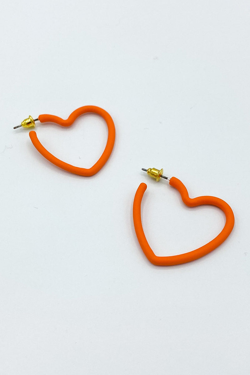 Kait Matte Heart Hoops