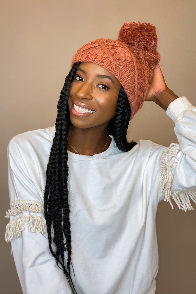 Terracotta Knit Pom Pom Hat