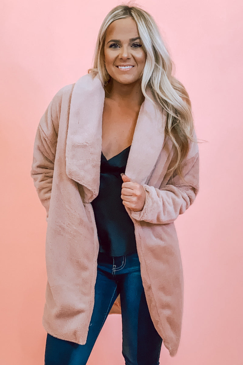 Light Pink Soft Faux Fur Coat