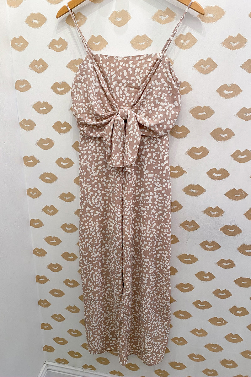 Still Dot It Taupe Dot Print Cropped Jumpsuit with a Tie Front