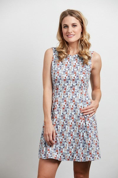 Oh Deer! Light Blue Deer Print Sleeveless Dress