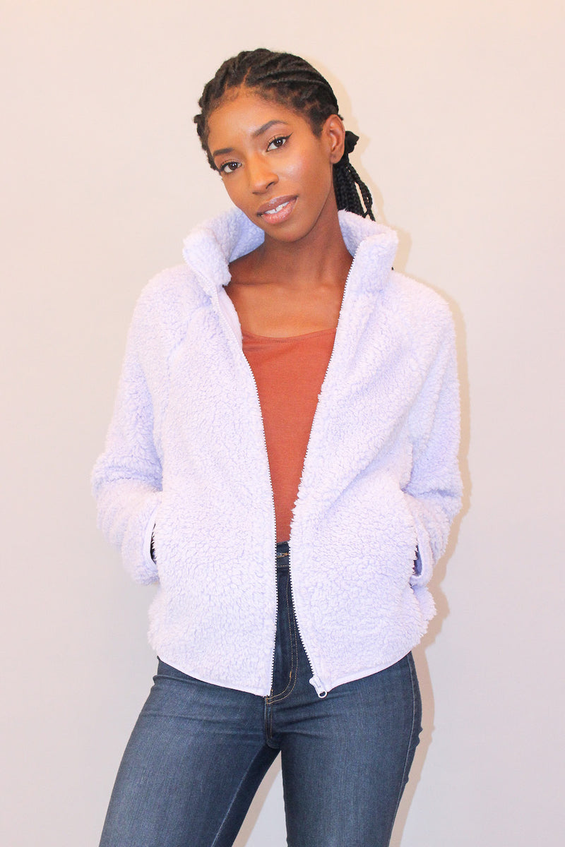 Lavender Zip Up Teddy Coat