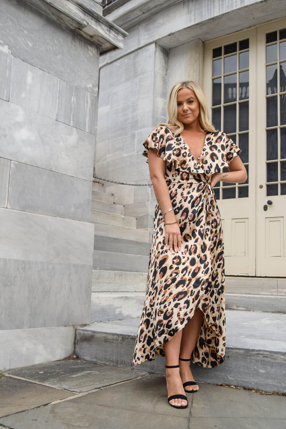 Cheetah Caped Maxi Wrap Dress