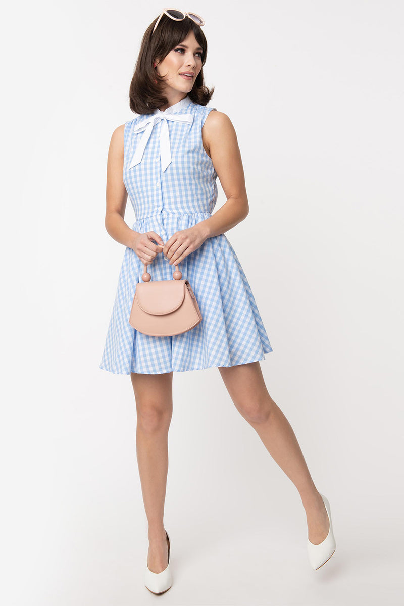 Light Blue & White Gingham Neck Tie Fit & Flare Dress by Smak Parlour