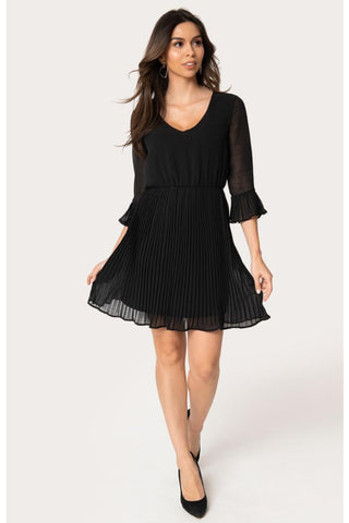 On The Cowl Black Satin Ruffle Dress