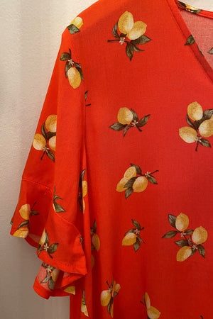 Easy Peasy Lemon Coral Flowy Top
