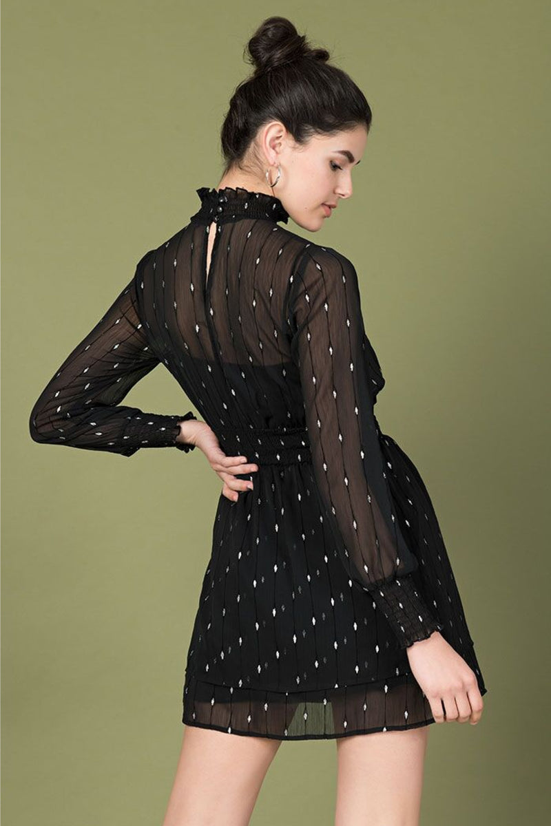 One In A Million Sheer Black Dress With Metallic Details by Smak Parlour