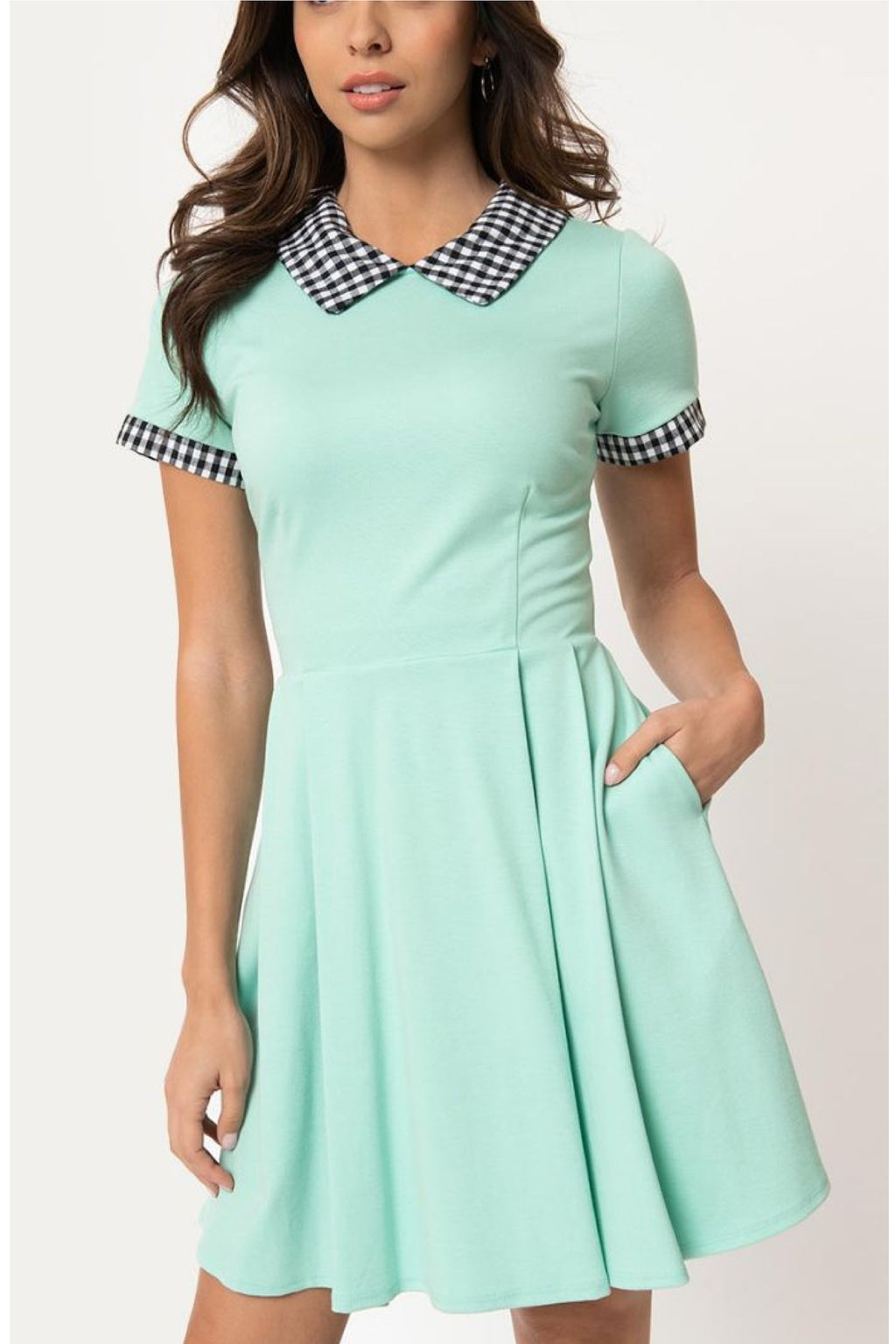 Mint & Black Gingham Babe Revolution Fit & Flare Dress by Smak Parlour