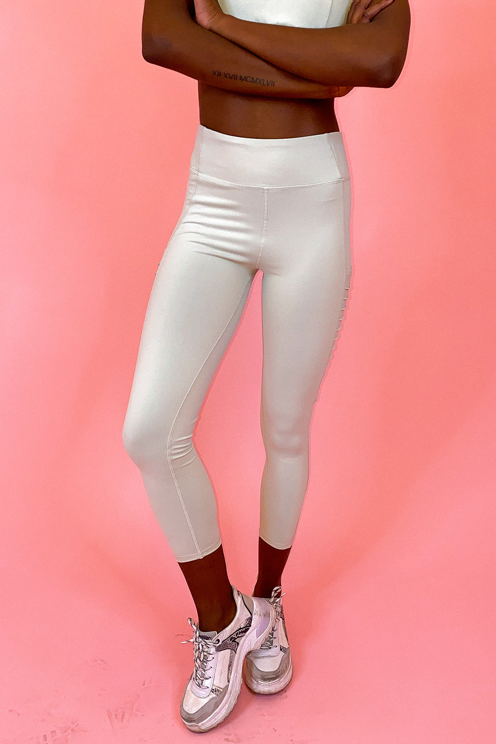 Mint Green Moto Ribbed High Waisted Leggings