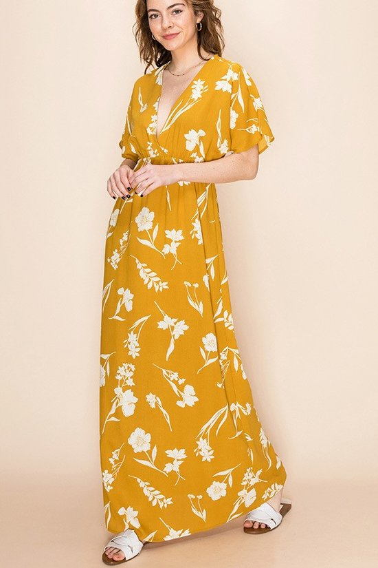 Mustard Floral Deep V Empire Waist Maxi Dress