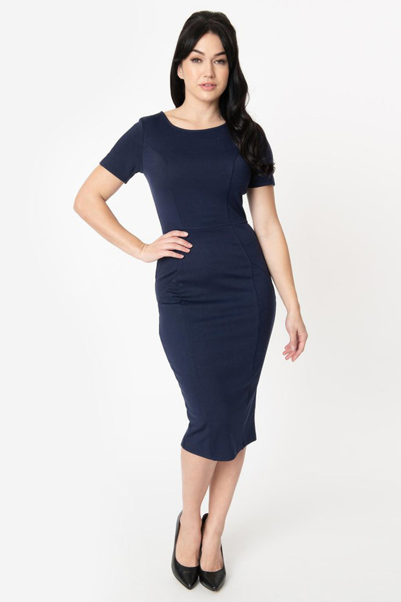 Not A Want A Need Navy Short Sleeve Fitted Midi Dress