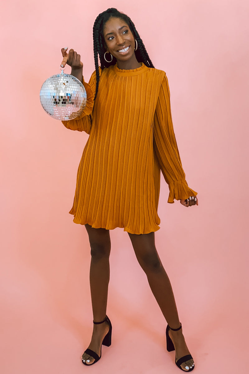 Golden Hour Deep Mustard Mock Neck Pleated Long Sleeve Dress