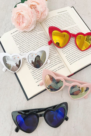 Heart Shaped Reflective Lens Sunnies