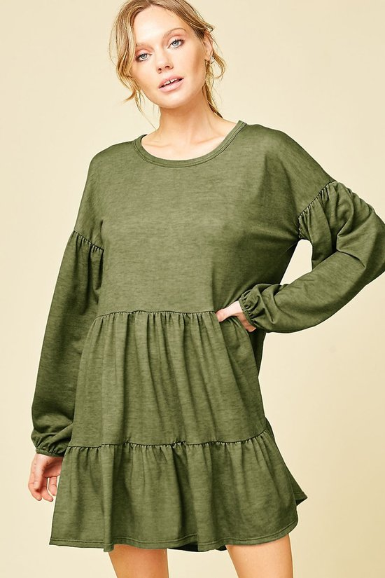 Ruffle Me Crazy Olive Green Long Sleeve Babydoll Dress