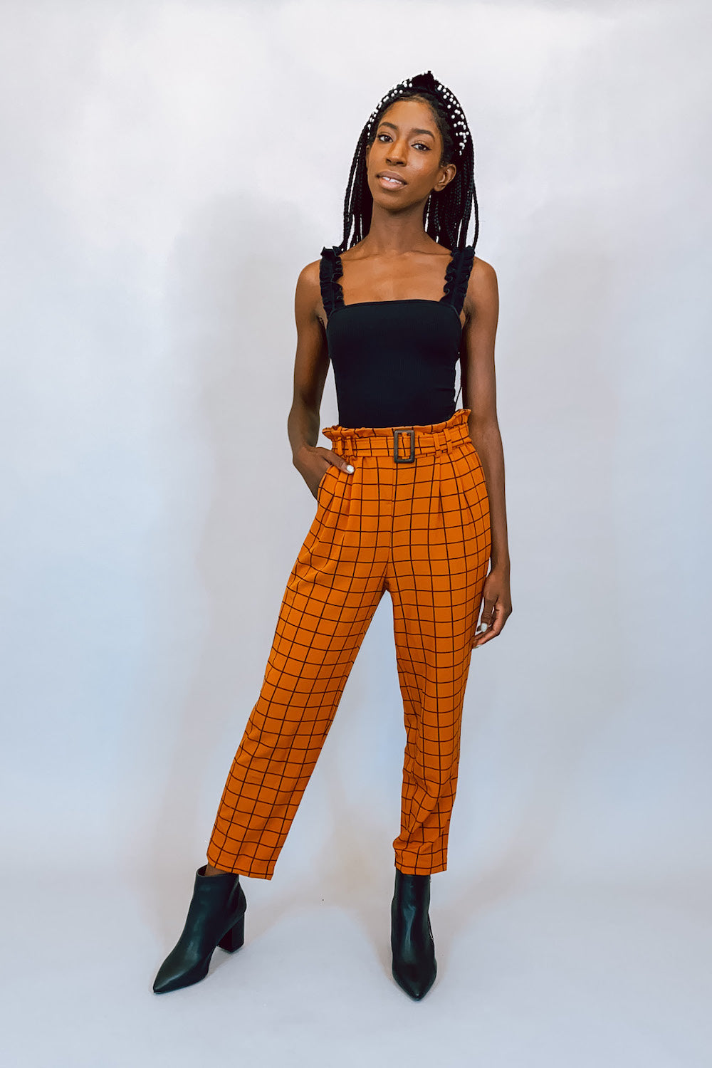 On The Grid Rust High Waisted Trouser Pants with Belt