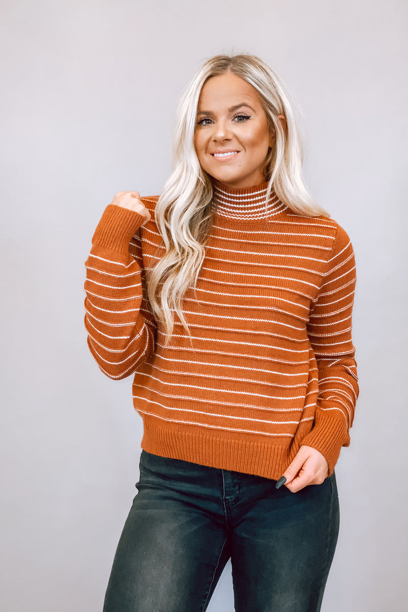Rust & White Striped High Neck Sweater