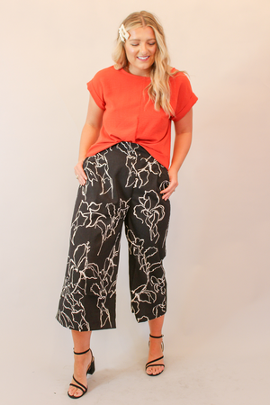 Black & White Abstract Line Print Wide Leg Pant