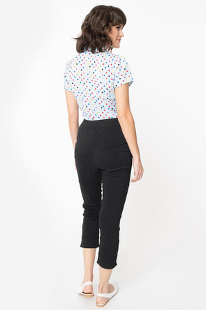 Black Smarty Pants Cuffed Capri Pants by Smak Parlour
