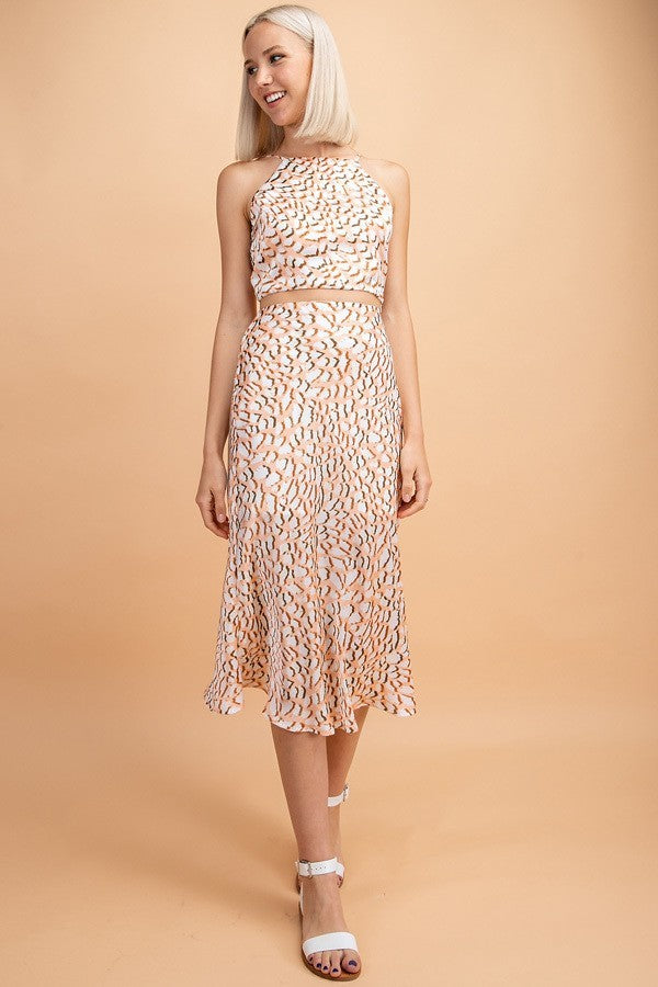 Peach Cheetah Midi Satin Skirt