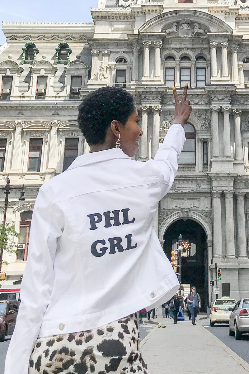 'PHL GRL' Custom White Denim Jacket