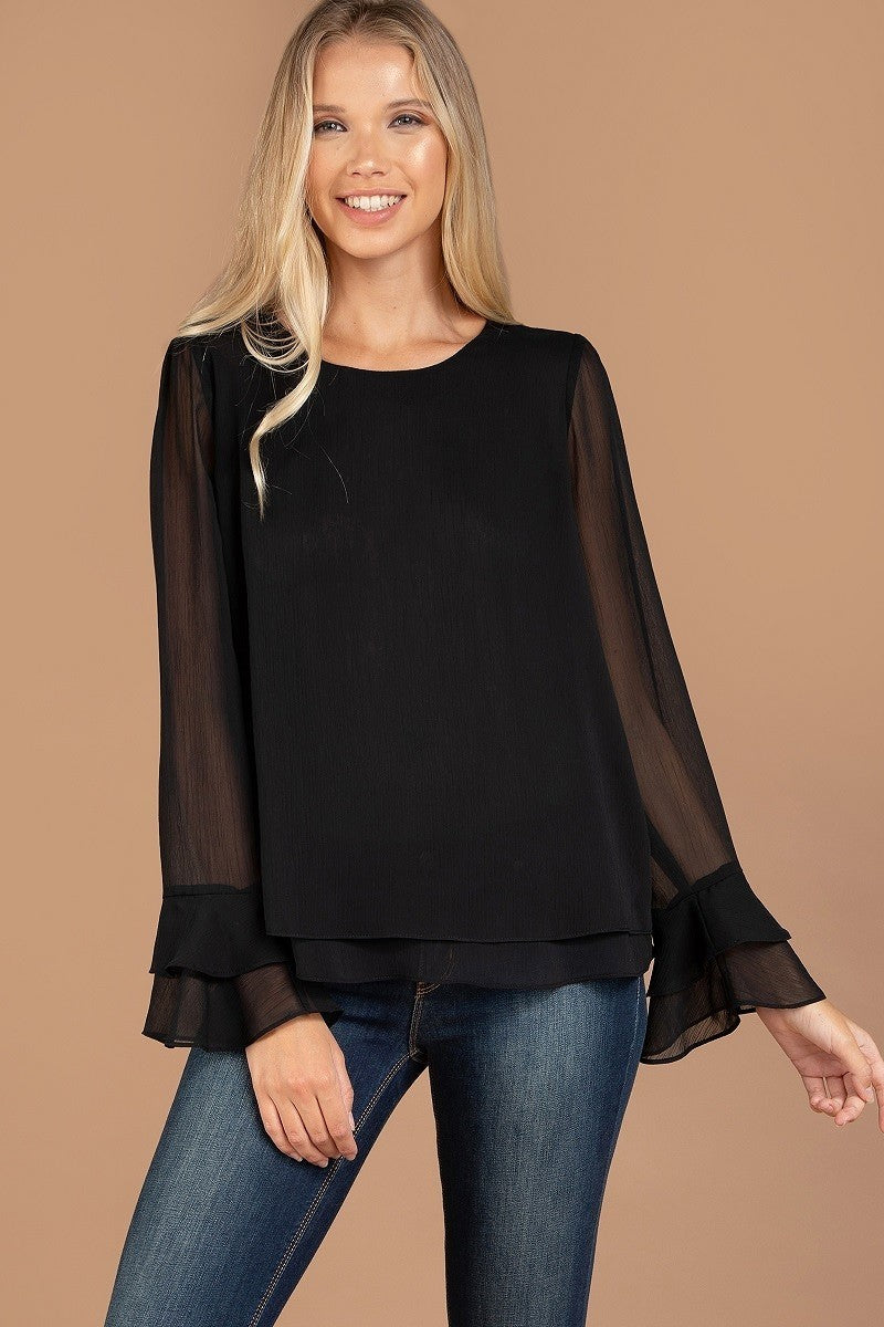 Black Scoop Neck Top with Sheer Long Sleeves