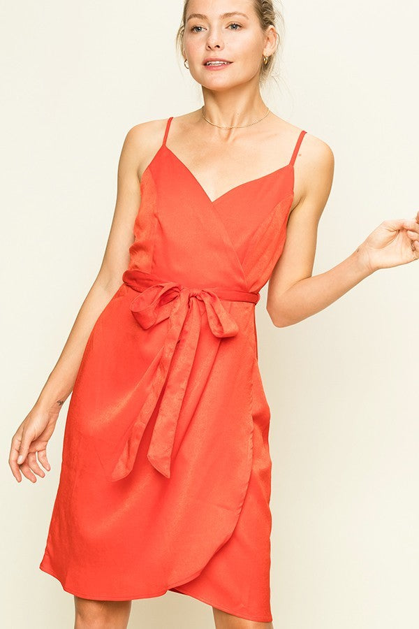 Not Today Satin Red Silk Midi Dress with Tie