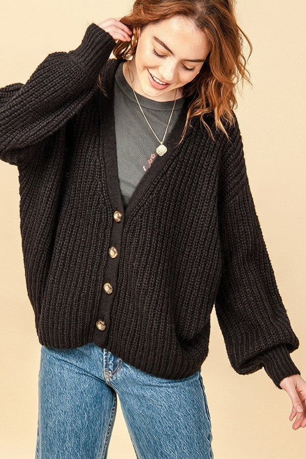 Chunky Knit Button Down Cardigan Sweater