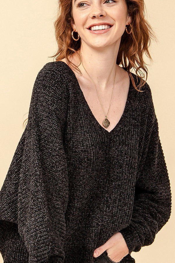 Not Over-Sized It Chenille V Neck Dolman Sleeve Sweater