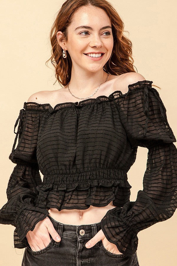 Off the Shoulder Black Ruffle Crop Top with Mesh Tiered Sleeves