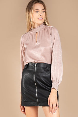 Slit The Mark Black Faux Leather Mini Skirt with Side Detail
