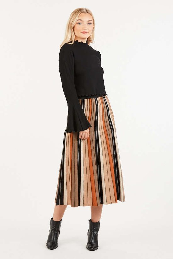 Pleat Me Halfway Rust & Tan Striped Midi Skirt
