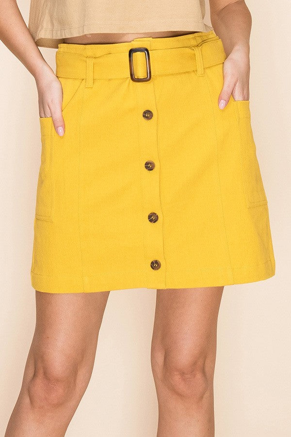 Yellow Denim Button Up Mini Skirt with Belted Waist