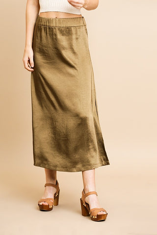 Yes Pleat! Green Pleated High Waisted Maxi Skirt