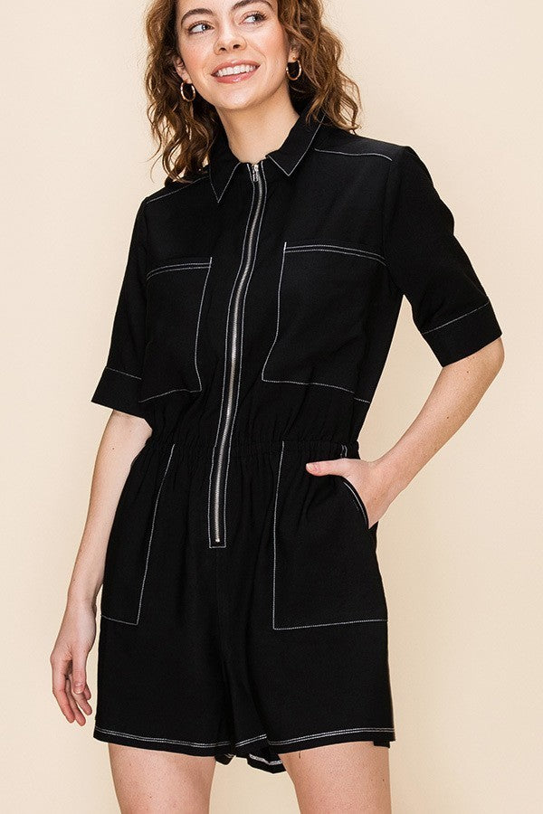 In A Day's Work Black Contrast Thread Short Sleeve Utility Romper