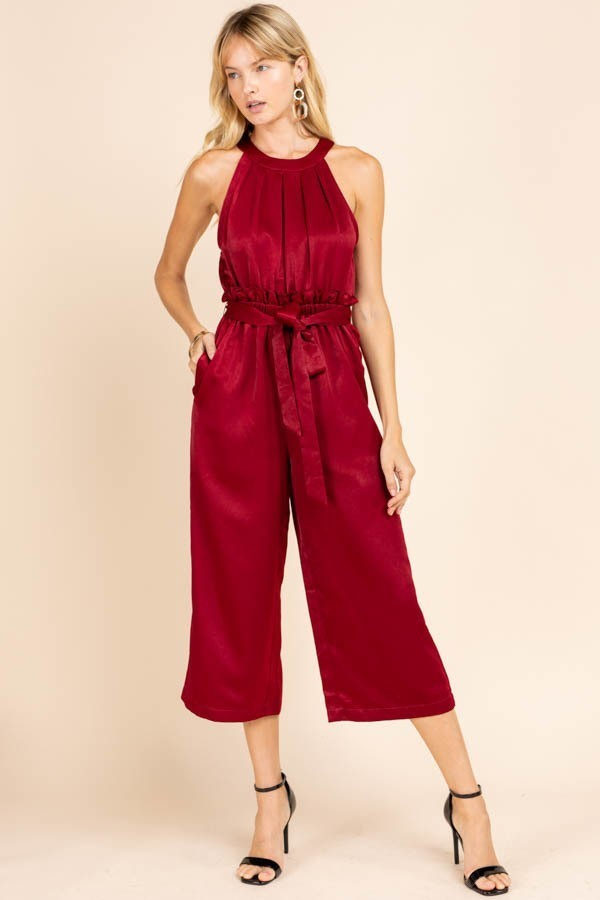 Like Fine Wine Red Halter Cropped Jumpsuit with Tie Waist