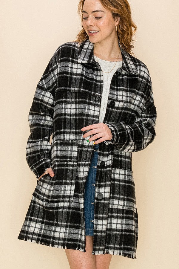 Off the Grid Black Buffalo Plaid Oversized Flannel Top