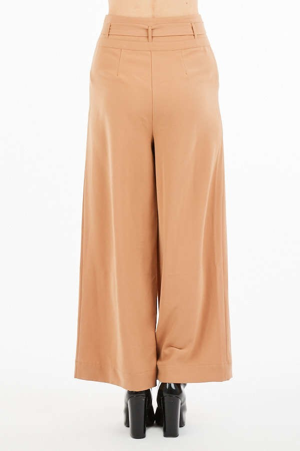 Taking Over Tan Wide Leg High Waisted Pants with Tie Belt
