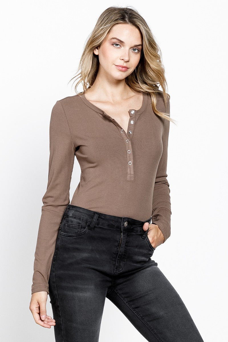 Snap to It Mocha Long Sleeve Bodysuit
