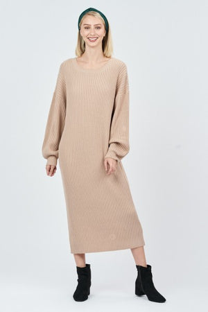 Camel Oversized Sweater Dress with Deep V Back