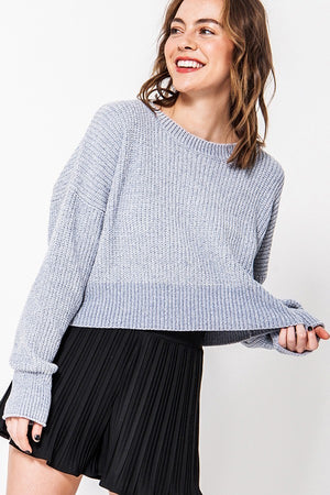 Love On Crop Grey Knit Sweater with Ribbed Bottom