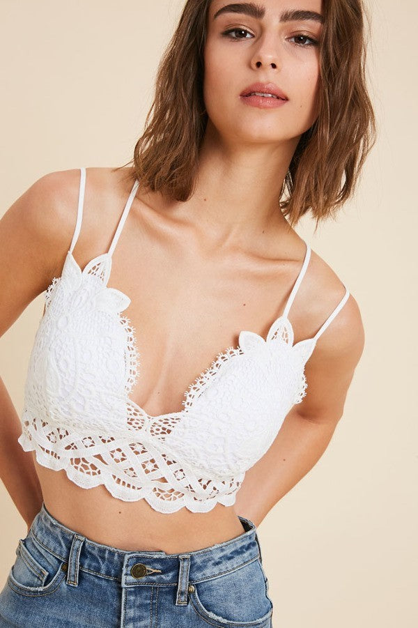 Worth the Lace Floral Lace Criss-Cross Back Bralette