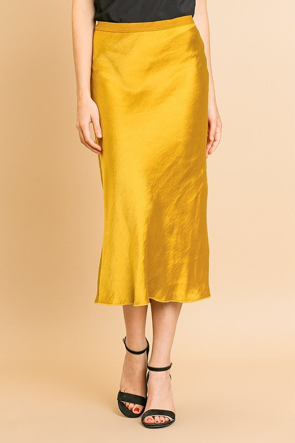 Deep Mustard Silk Midi Skirt with Elastic Waist
