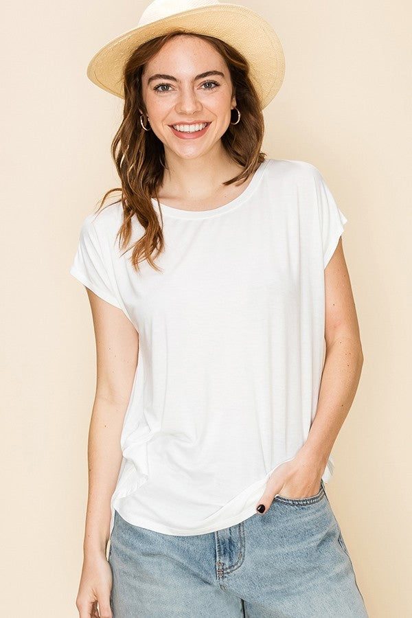 White Basic Split Seam T Shirt
