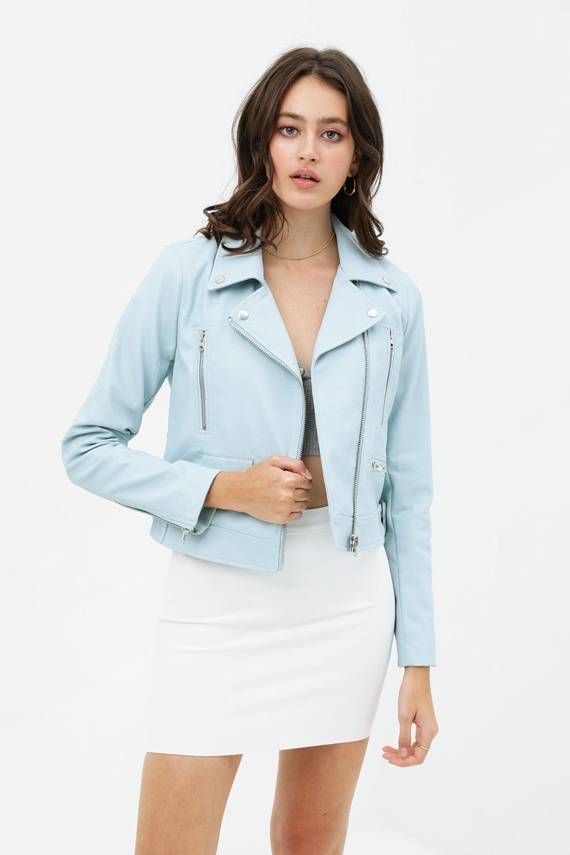 Bright Biker Baby Blue Leather Jacket