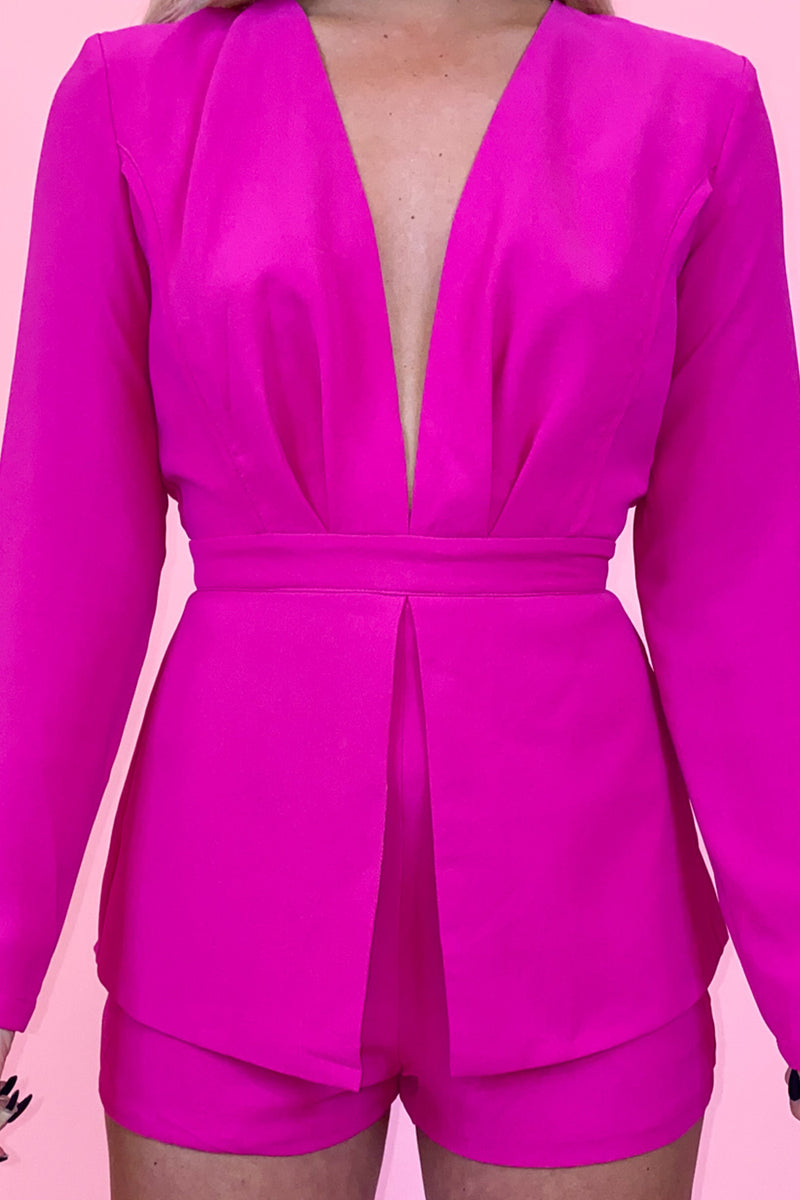 Fuchsia on Fire Long Sleeve Deep V Romper
