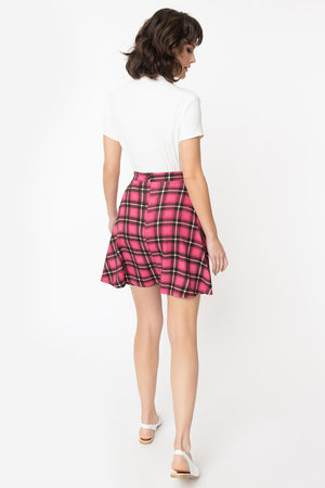 Pink Plaid Trend Setter Swing Skirt By Smak Parlour