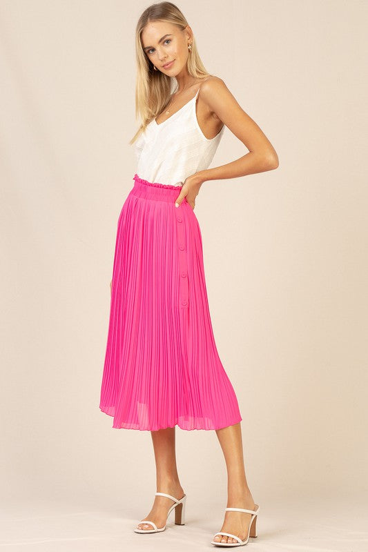 Pretty In Pink Pleated Midi Skirt
