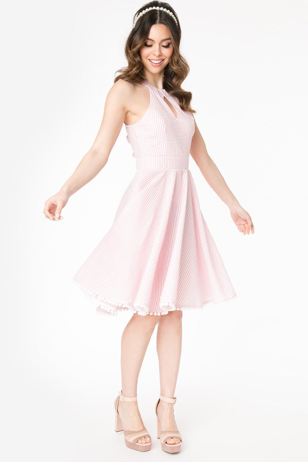 Pink Seersucker Halter Make Me Over Dress by Smak Parlour