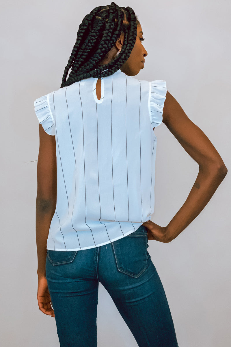 White Pinstripe High Neck Top with Flutter Sleeves