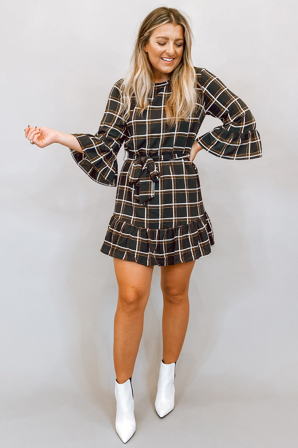 Grey & Mustard Plaid Long Sleeve Dress with Tie Waist